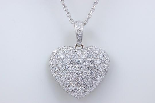 Diamond Pendant Necklace Micro Pave Round Diamond Heart Pendant 3.00 tcw Necklace in 18k White Image 6