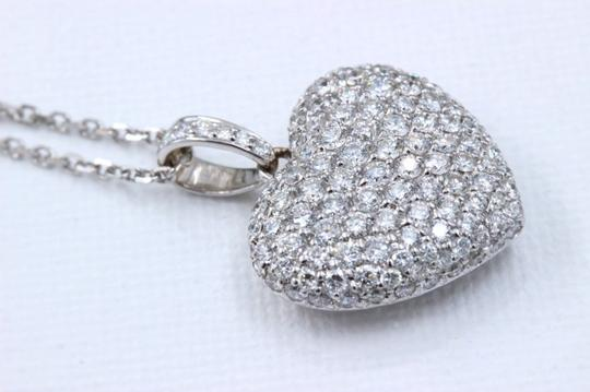Diamond Pendant Necklace Micro Pave Round Diamond Heart Pendant 3.00 tcw Necklace in 18k White Image 7