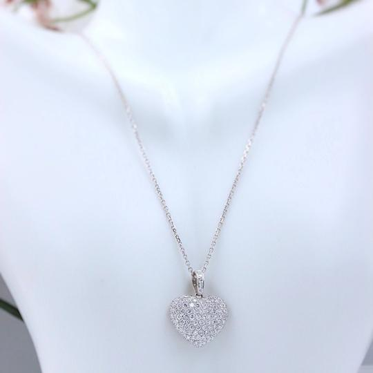 Diamond Pendant Necklace Micro Pave Round Diamond Heart Pendant 3.00 tcw Necklace in 18k White Image 8