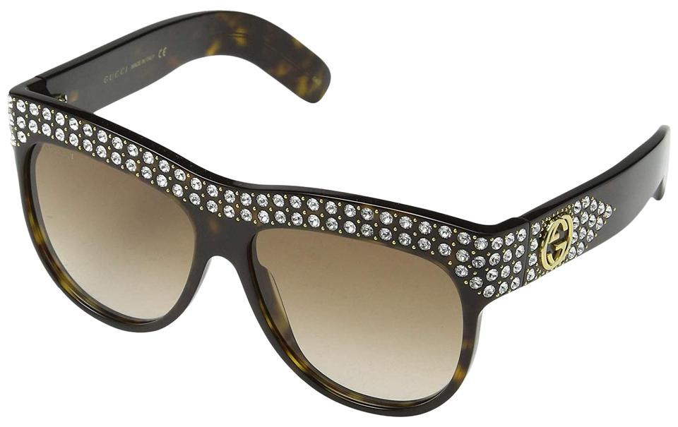 d3518631d24 Gucci 002 Dark Havana New Gg0147s Brown with Stones Frame Brown Sunglasses