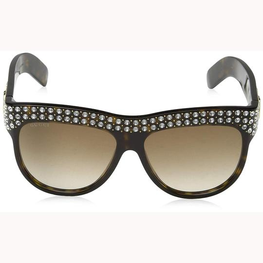 Gucci New Gucci GG0147S 002 Sunglasses Havana Brown With Stones Frame Brown Image 1