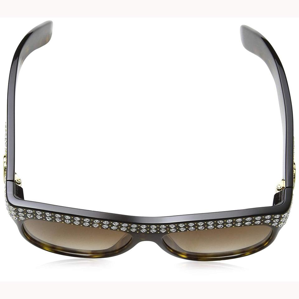 5d0a2061e03 Gucci New Gucci GG0147S 002 Sunglasses Havana Brown With Stones Frame Brown  Image 3. 1234