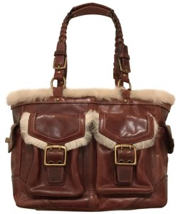 Coach Purse Handbag Tote Shoulder Distressed Satchel in brown Gold
