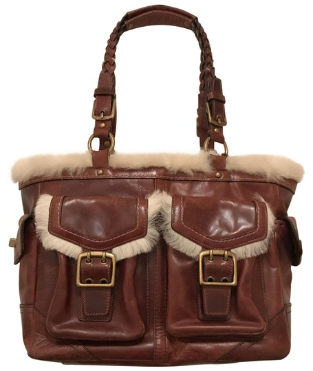 Coach Purse Handbag Tote Shoulder Distressed Satchel in brown Gold Image 0