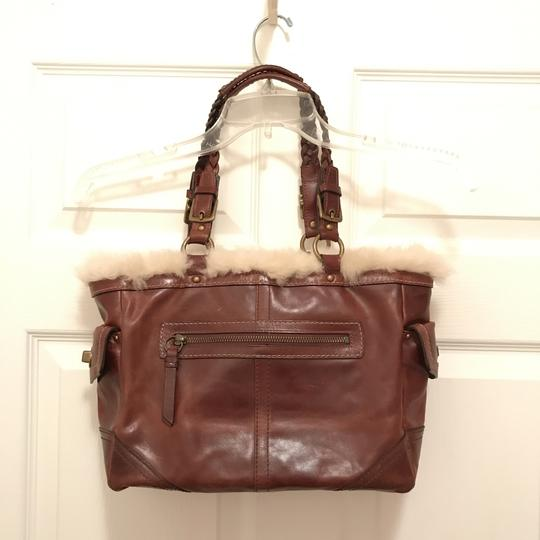 Coach Purse Handbag Tote Shoulder Distressed Satchel in brown Gold Image 1