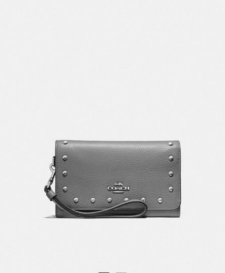 Coach New NWT COACH FLAP PHONE WALLET WITH LACQUER RIVETS (F39180 Image 2