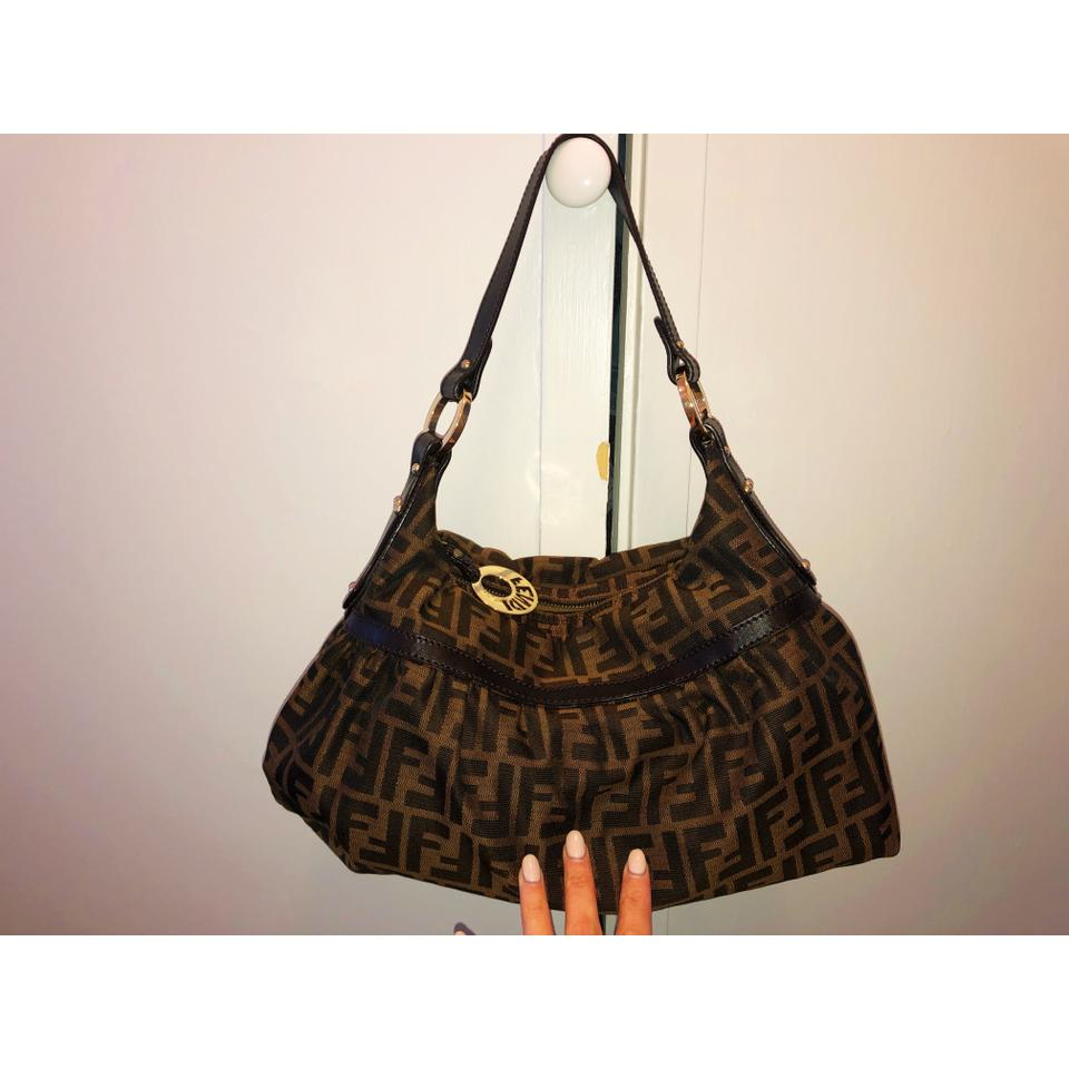 219295d14a00 Fendi Zucca Bag. Beige Chocolate Brown Gold Canvas with Leather Trim ...