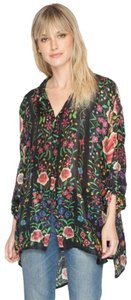 Johnny Was Print Silk Long Tabbed Sleeves Layer Or Not Wardrobe Staple Button Down Shirt Multi