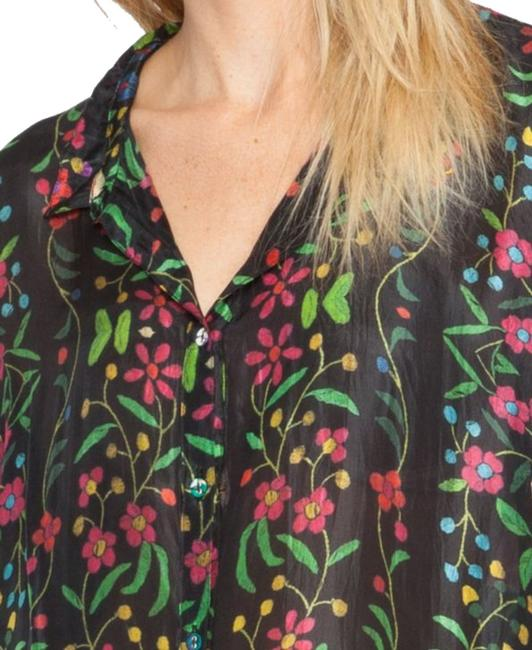 Johnny Was Print Silk Long Tabbed Sleeves Layer Or Not Wardrobe Staple Button Down Shirt Multi Image 1