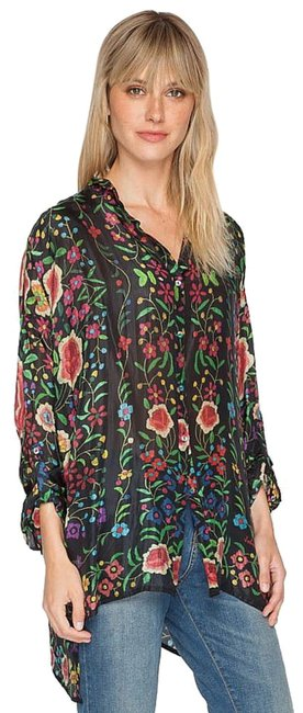 Johnny Was Print Silk Long Tabbed Sleeves Layer Or Not Wardrobe Staple Button Down Shirt Multi Image 2