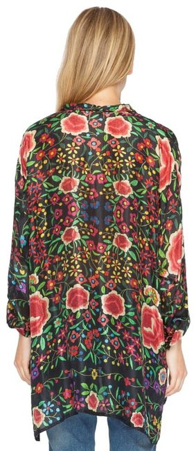 Johnny Was Print Silk Long Tabbed Sleeves Layer Or Not Wardrobe Staple Button Down Shirt Multi Image 3