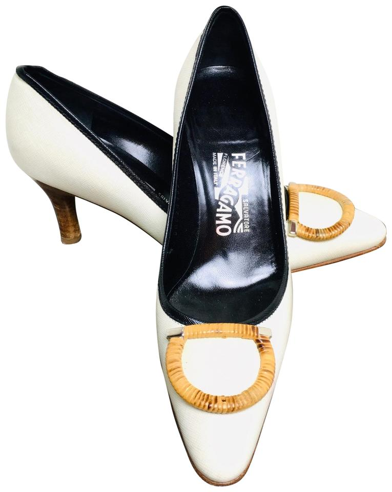 d3a2379b99e Salvatore Ferragamo White Leather Bamboo  gancini  Embellished Pointed Toe  Pumps. Size  US 7 Regular (M ...