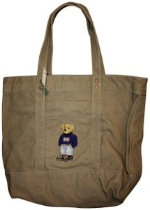 Polo Ralph Lauren Teddy Bear Limited Edition Canvas Shopper Canvas Tote in Gray