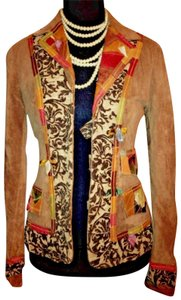 Save The Queen Special Edition Suede Leather Patchwork Painted Design Tan Multi Color Blazer
