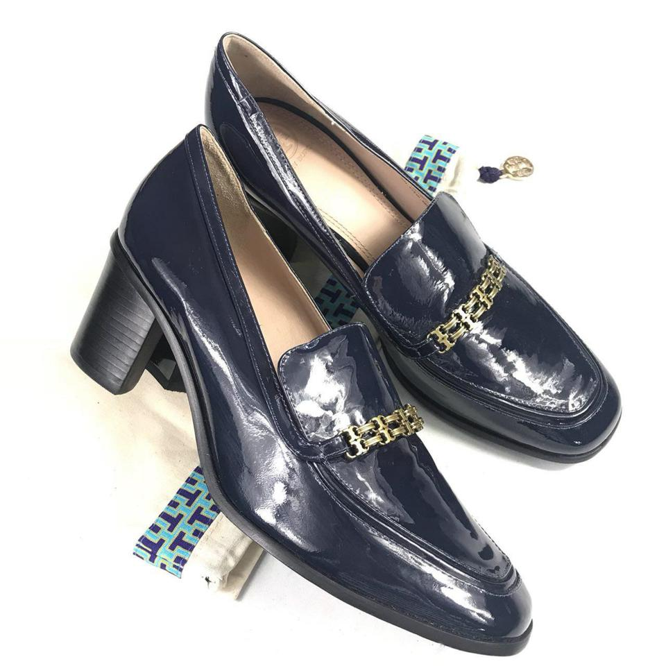 81cd4adda5985 Tory Burch Navy Women s Patent Block New 9.5m with Bag Pumps Size US ...