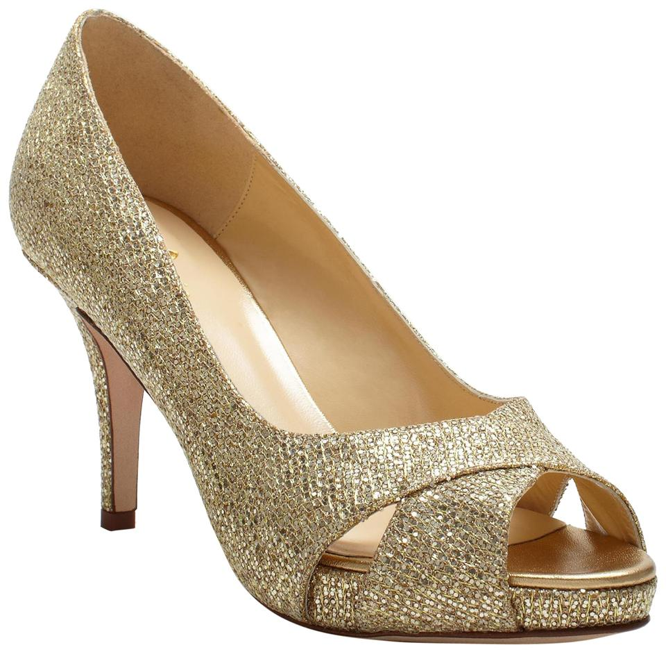 19c2c1b32198 Kate Spade Gold  New  Billie Peep-toe Glitter Pumps Size US 8 ...