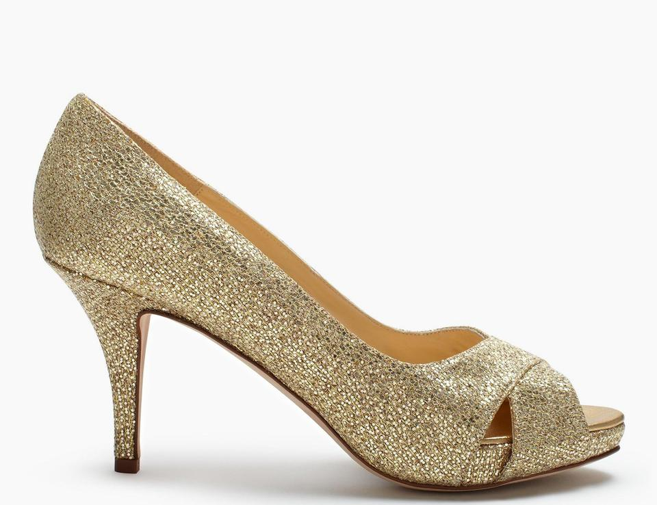 a6e03041d354 Kate Spade Gold  New  Billie Peep-toe Glitter Pumps Size US 8 Regular (M