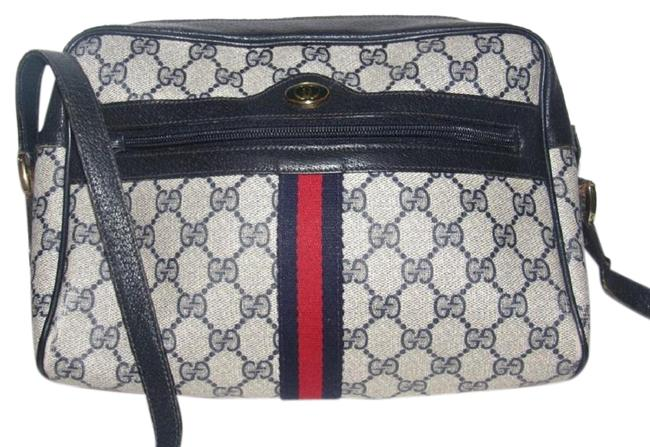 Gucci Vintage Purses/Designers Purses Blue Large G Logo Print Coated Canvas and Navy Leather with Red & Green Stripe Cross Body Bag Gucci Vintage Purses/Designers Purses Blue Large G Logo Print Coated Canvas and Navy Leather with Red & Green Stripe Cross Body Bag Image 1