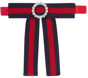 Gucci Crystal-embellished striped grosgrain and silk-satin pussy-bow collar