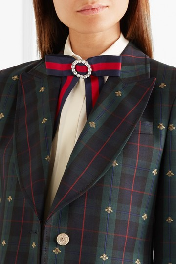 Gucci Crystal-embellished striped grosgrain and silk-satin pussy-bow collar Image 1
