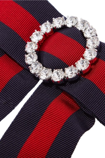 Gucci Crystal-embellished striped grosgrain and silk-satin pussy-bow collar Image 2