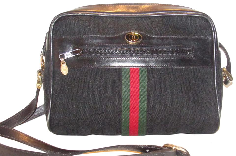 Gucci Vintage Ophidia Purses Designers Black Large G Logo Print Canvas And Leather With Red Green Stripe Cross Body Bag