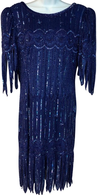 Preload https://img-static.tradesy.com/item/24539518/blue-fringes-embellished-pm-short-cocktail-dress-size-petite-8-m-0-1-650-650.jpg