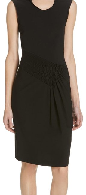 Item - Black Jersey Pleated Mid-length Cocktail Dress Size 8 (M)