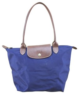 Longchamp Fall Winter Night Out Date Night Holiday Tote in Navy/Gold/Brown