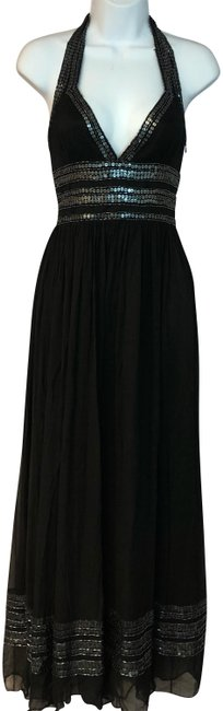 Item - Black Halter Embellished Silk Cocktail P2 Long Night Out Dress Size Petite 2 (XS)