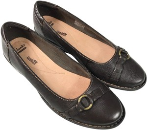 Clarks Leather Slip-on Soft Brown Flats