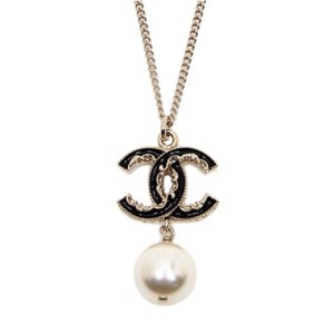 Chanel Chanel Gold Black CC Pearl Necklace