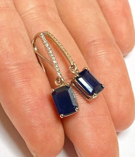 Estate Certified 2290 Sapphire & Diamond Drop 14Kt White Gold 21765 Image 3