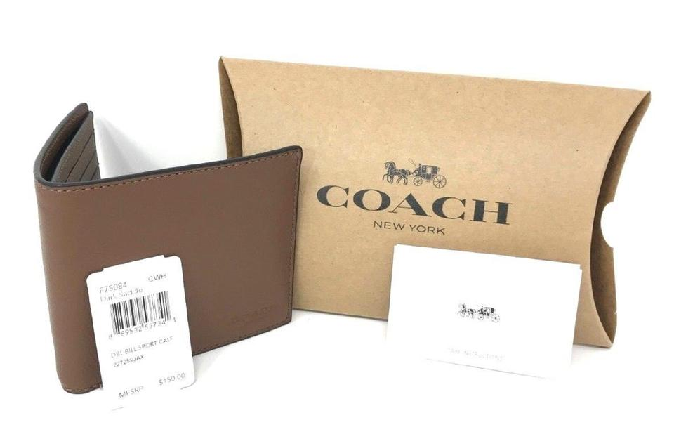 dbc744625245 Coach Coach Men s Dark Saddle Billfold Double Fold Calf Leather Wallet  F7508 Image 0 ...