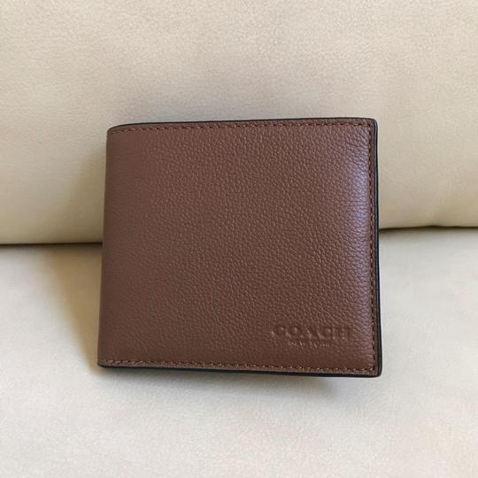 Coach Coach Men's Dark Saddle Billfold Double Fold Calf Leather Wallet F7508 Image 2
