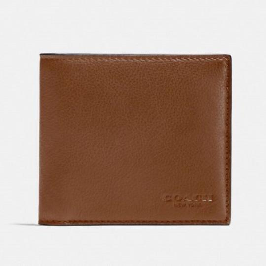 Coach Coach Men's Dark Saddle Billfold Double Fold Calf Leather Wallet F7508 Image 1