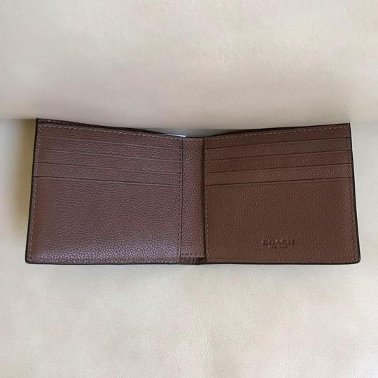 Coach Coach Men's Dark Saddle Billfold Double Fold Calf Leather Wallet F7508 Image 3