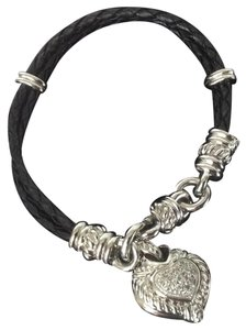 Judith Ripka Braided Leather Cord with Heart Charm Bracelet
