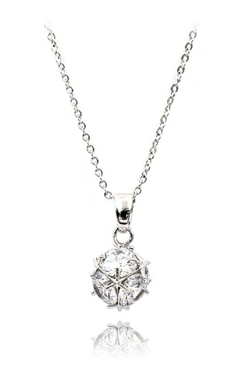 Ocean Fashion Silver mini crystal ball necklace Image 0