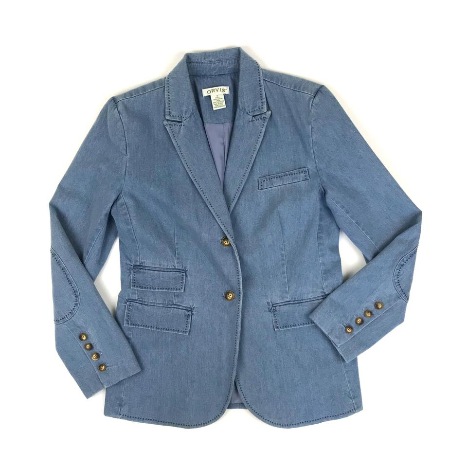 aedeccb6a485a ORVIS Equestrian Patched Elbow Chambray Womens Jean Jacket Image 0 ...