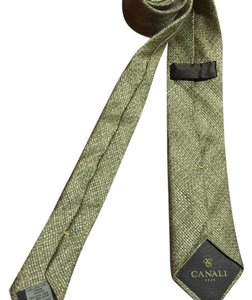 Canali $195 CANALI 1934 Light Grey-Biege Woven Neck Tie Made in Italy