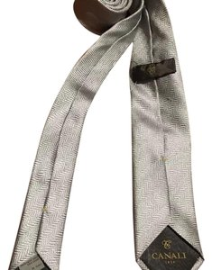 Canali $195 Men's CANALI 1934 Light Grey-White Woven 100% Silk Neck Tie Made In Italy