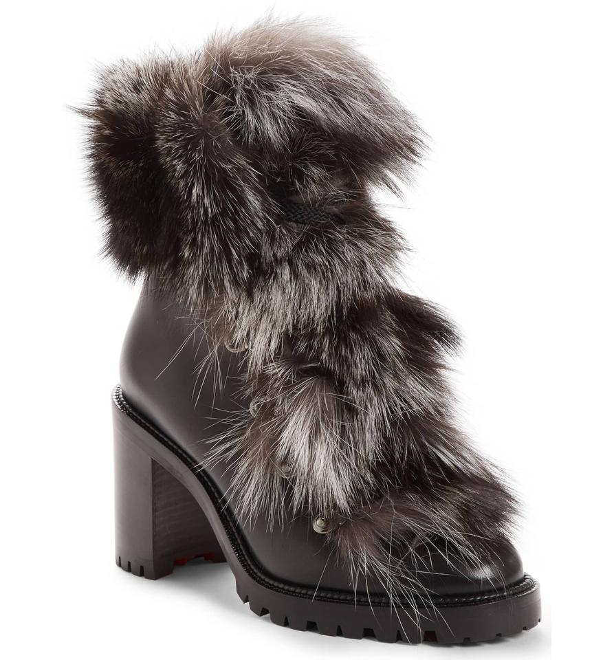 4c1a019798616 Christian Louboutin Black Fanny 70 Grey Fox Fur Leather Lace Up Stiletto  Heel Combat Boots/Booties Size EU 39 (Approx. US 9) Regular (M, B)