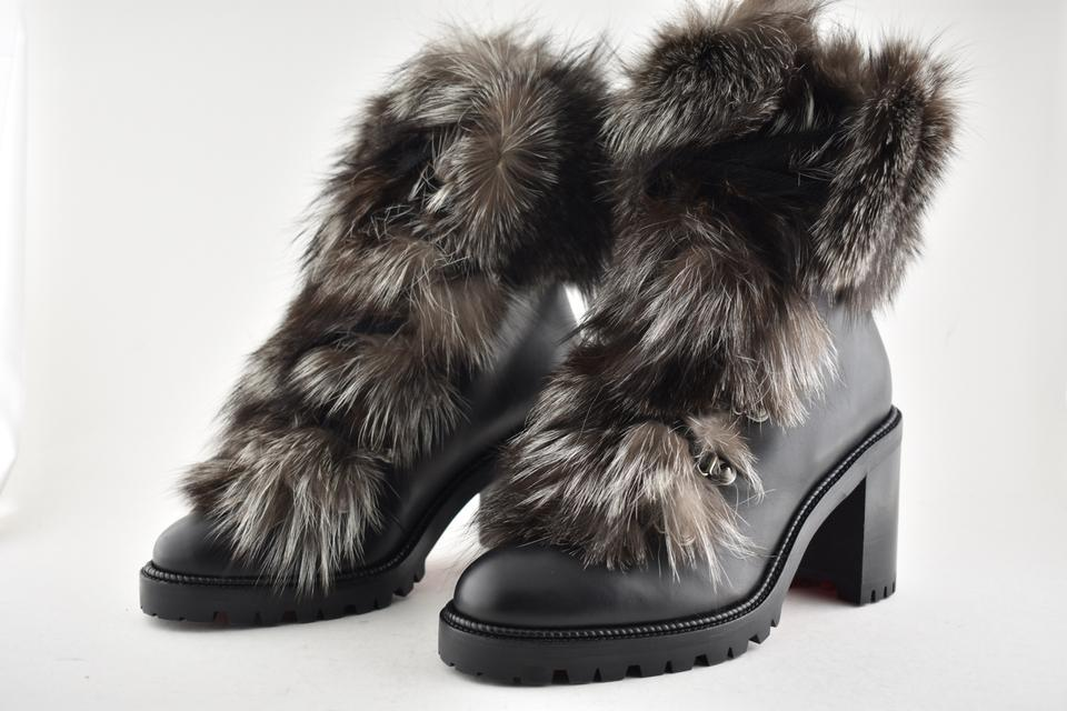 934477f4730 Christian Louboutin Black Fanny 70 Grey Fox Fur Leather Lace Up Stiletto  Heel Combat Boots/Booties Size EU 39 (Approx. US 9) Regular (M, B)