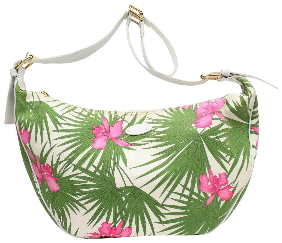 b6a704d7acd1 Céline Hobo [1st Dibs] Floral Palm Tree 869205 Green Canvas Shoulder ...