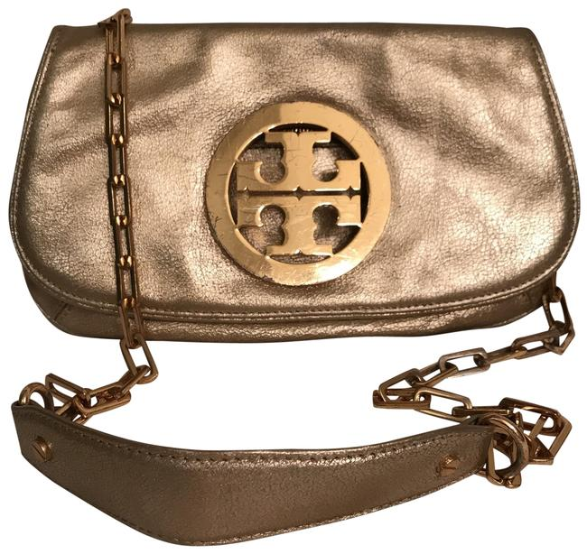 Item - Logo Distressed Crackle Convertible Gold Leather Cross Body Bag