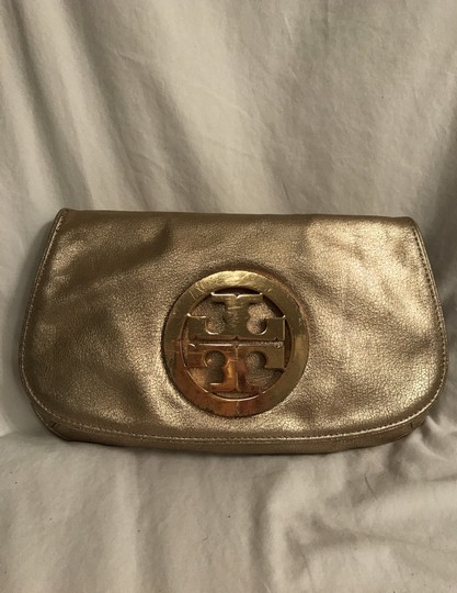 Tory Burch Purse Handbag Clutch Distressed Metallic Cross Body Bag Image 11