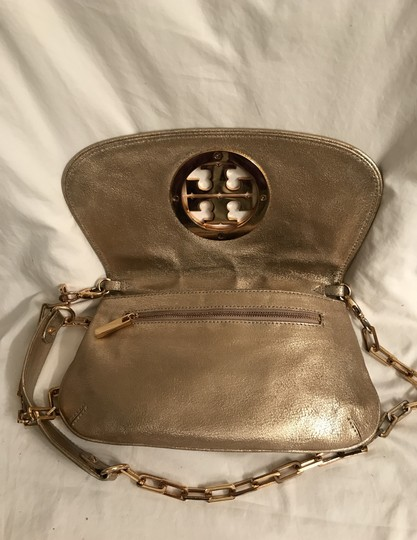 Tory Burch Purse Handbag Clutch Distressed Metallic Cross Body Bag Image 4