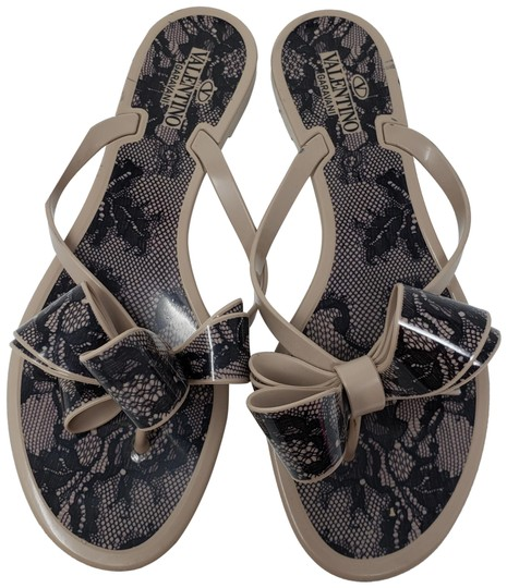 Valentino Beige Jelly Mauve Black Lace Bow Sandals Size Eu