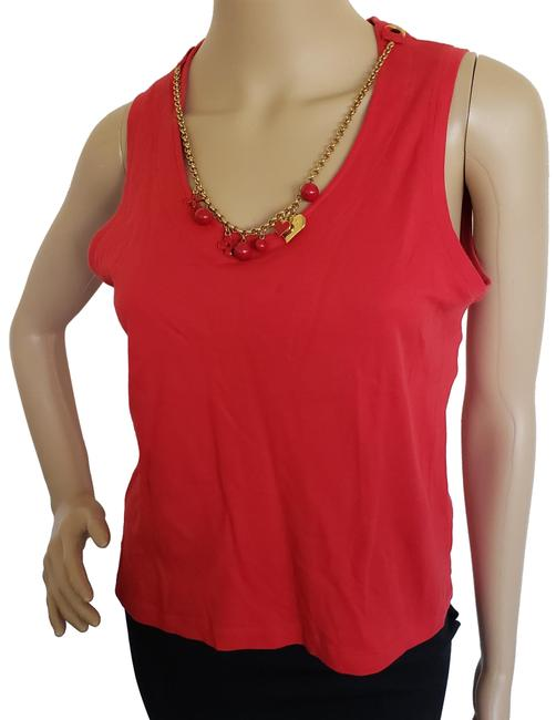 Item - Red Lv Charm Necklace Sleeveless Blouse Size 8 (M)